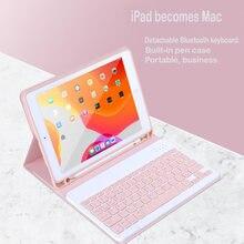 Para o iPad 9.7 2017 2018 6th Caso de Teclado Bluetooth para iPad 10.2 7th Geração 5th Air 1 2 3 Pro 9.7 10.5 Tampa 11