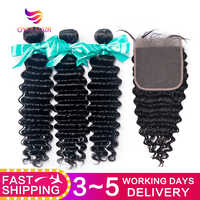 OYM HAIR Malaysian Deep Wave Bundles With Closure Non-Remy Human Hair 3 and 4 Bundles With Lace Closure Hair Extension