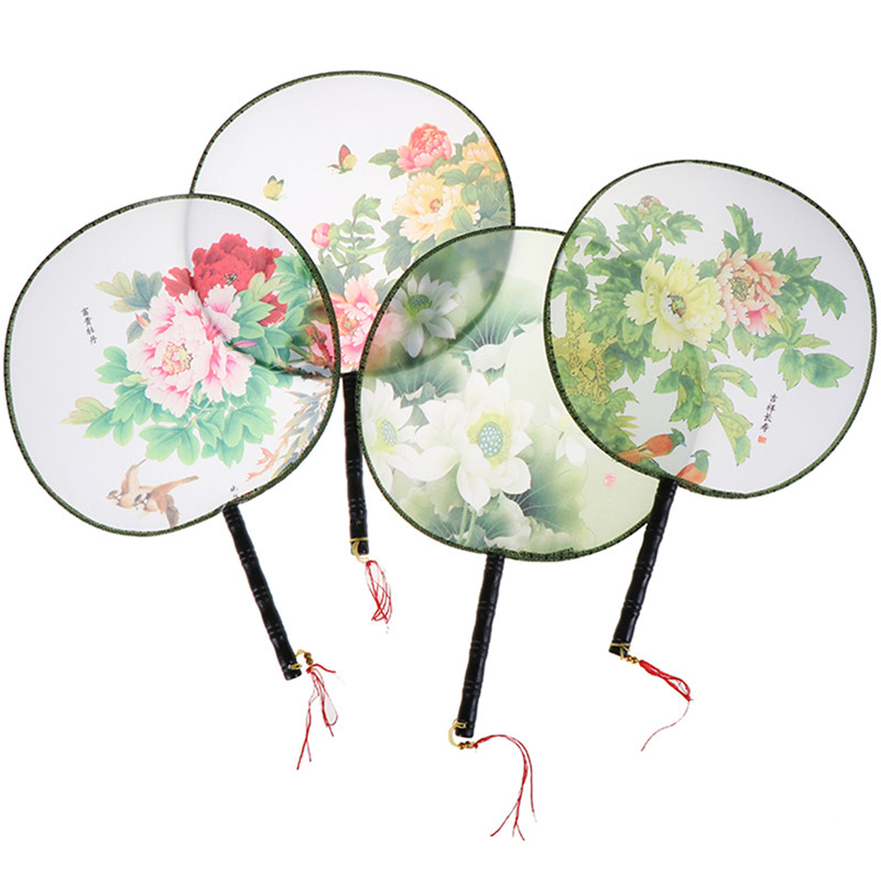 Wood Handle Chinese Vintage Palace Round Hand Fan Print Wedding Party Dance Gift