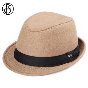 Image 5 - FS Vintage Men Wide Brim Wool Felt Fedora Hats For Black  Jazz Trilby Panama Hat Gentleman Gangster Caps Fedora Chapeau Homme