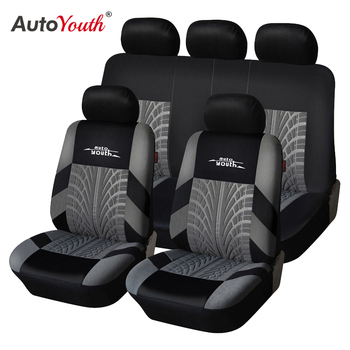 AUTOYOUTH Brand Embroidery Car Seat Covers Set Universal Fit Most Cars Covers with Tire Track Detail Styling Car Seat Protector 1