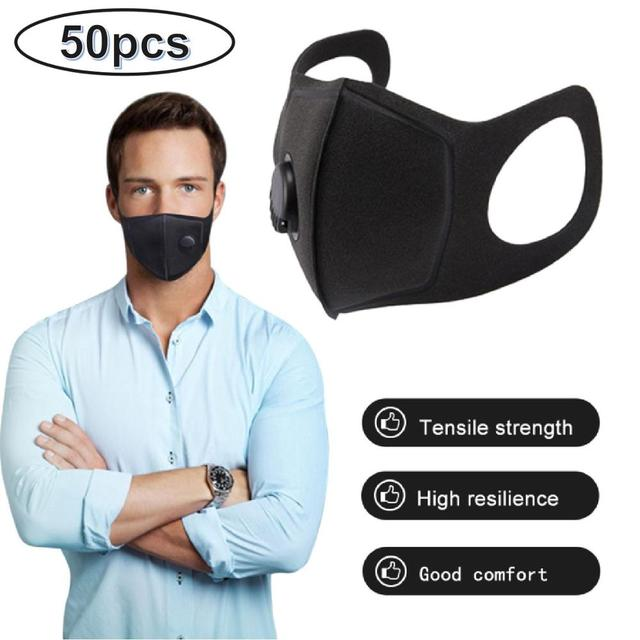 Spot Sales 50PCS Anti Flu Bacterial Reusable Masks Against Droplets With Air Valve Breathable Anti Pollution Mouth Cover Unisex