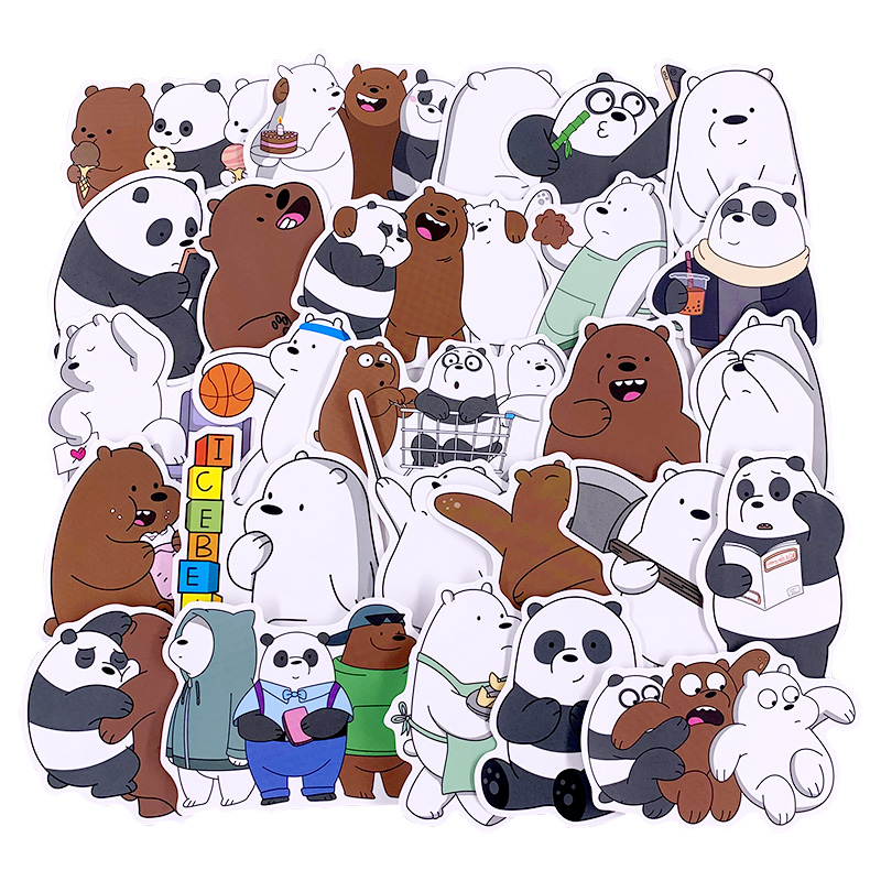 36 Pcs/set Bears Stickers Crtoon Cute Little Bear Sticker PVC Waterproof Graffiti Sticker For Luggage Laptop Toy Car