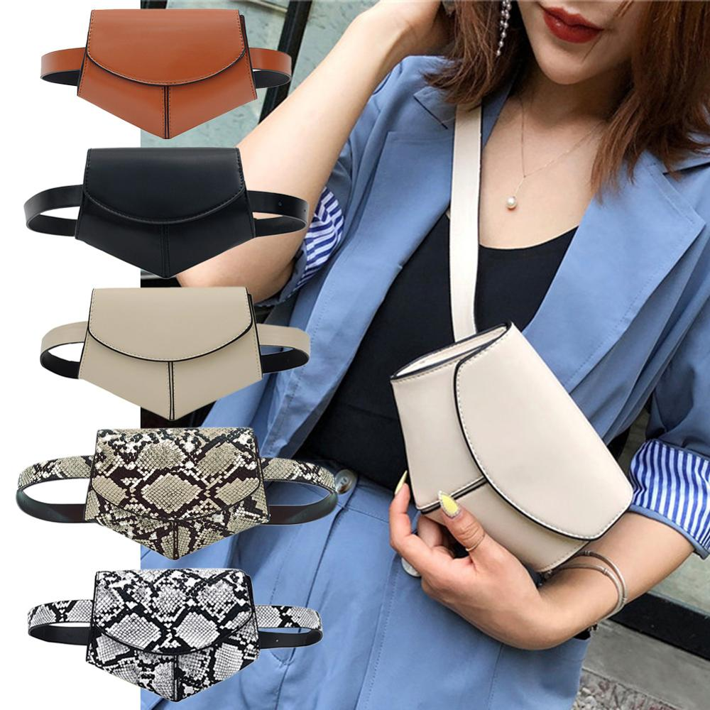 Snack Printing Shoulder Messenger Handbags Women PU Leather Waist Fanny Belt Packs Casual Phone Money Pouch Crossbody Chest Bags