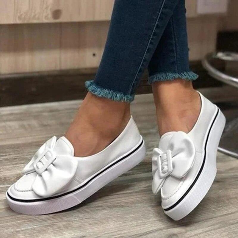 MCCKLE/женские лоферы из флока на плоской подошве с бантом; Женская прогулочная обувь без шнуровки; Женские кроссовки; Большие размеры; Повседневная женская обувь; Новинка 2020 года|Обувь без каблука|   | АлиЭкспресс