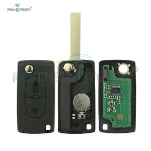 Image 3 - CE0536 модель 207 307 308 Автомобильный откидной пульт дистанционного управления 2 кнопки 434 МГц HU83 лезвие ключа для Peugeot citroen remtekey