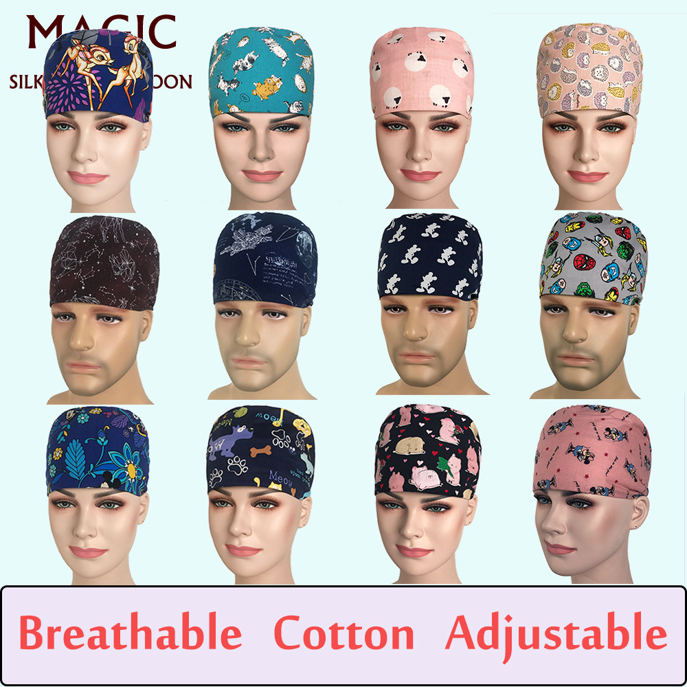 Man Doctor Nurses Printing Scrub Hat Medical Surgical Surgery Hat Unisex Pediatric Medical Scrubs Cap Women Medical Beauty Cap
