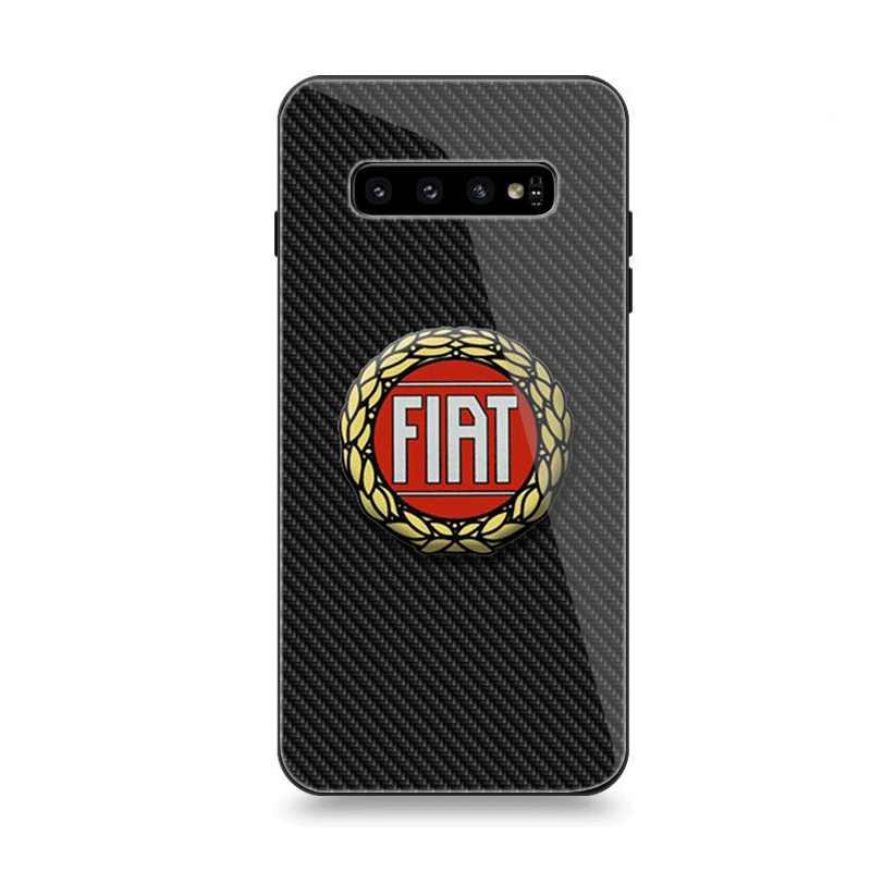 Kasus Telepon Kaca untuk Samsung A40 A50 A10 A20 A30 A60 A70 S10 S7 Edge S8 S9 Note 8 9 10 Plus Cover Fiat Logo Mobil