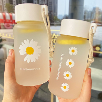 🔥 HOT 🔥 500ml Small Daisy Transparent Plastic Water Bottles BPA Free  1
