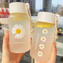500ml küçük papatya şeffaf plastik su şişeleri BPA ücretsiz yaratıcı buzlu su şişesi ile taşınabilir halat seyahat çay bardağı