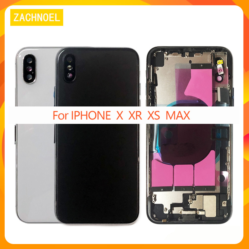 For Iphone X XS XR With Flex Cable Back Housing Full Assembly Battery Cover Door Rear Middle Frame Chassis For Iphone XS Max