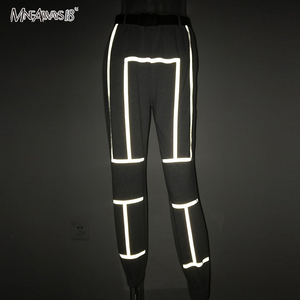 Image 4 - Mnealways18 Reflective Stripe Pants Women Streetwear Belt Knitted Female Casual Joggers Sweatpants Loose Pencil Pants Winter