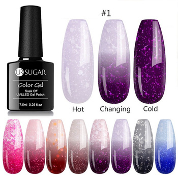 UR SUGAR 7.5ml Thermal Glitter Gel Soak Off UV Snowflake Sequins Temperature Changing Nail Polish Varnish Art varnish