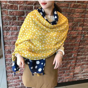 Image 2 - Yellow leopard scarf women winter vintage long blue yellow patchwork hijab scarf Pashminas Sjaal Muslim snood