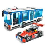 GUDI 9315 Fit ville commissariat Police Bus voiture ensemble Mini chiffres 256 pièces blocs de construction éducatifs bricolage jouets pour enfants cadeaux
