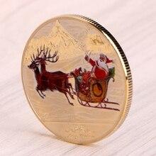 Merry Christmas Santa Claus Deer Sleigh For New Year Commemorative Coin Souvenir