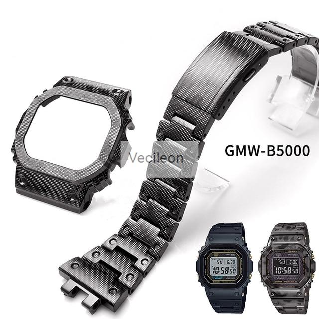 _ Черный Камуфляжный серебристый титановый сплав ремешки для часов и Безель металлический ремешок сталь GMW B5000 с инструментами