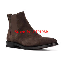 Chelsea Boots Man Genuine Leather Slip On London Chelsea Boots Suede Leather Kanye West Fashion Western Style Shoes men kanye west chelsea boots male silky gloss suede leather mashup boot italian leather luxury men vintage martin shoes