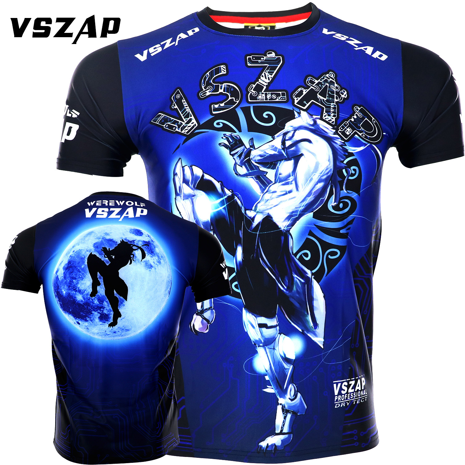 VSZAP Fighting Speed Dry Spring Fitness Short Sleeve T-shirt Man MMA Fight Free Fight Muay Thai Wolf Muscle Dog Training