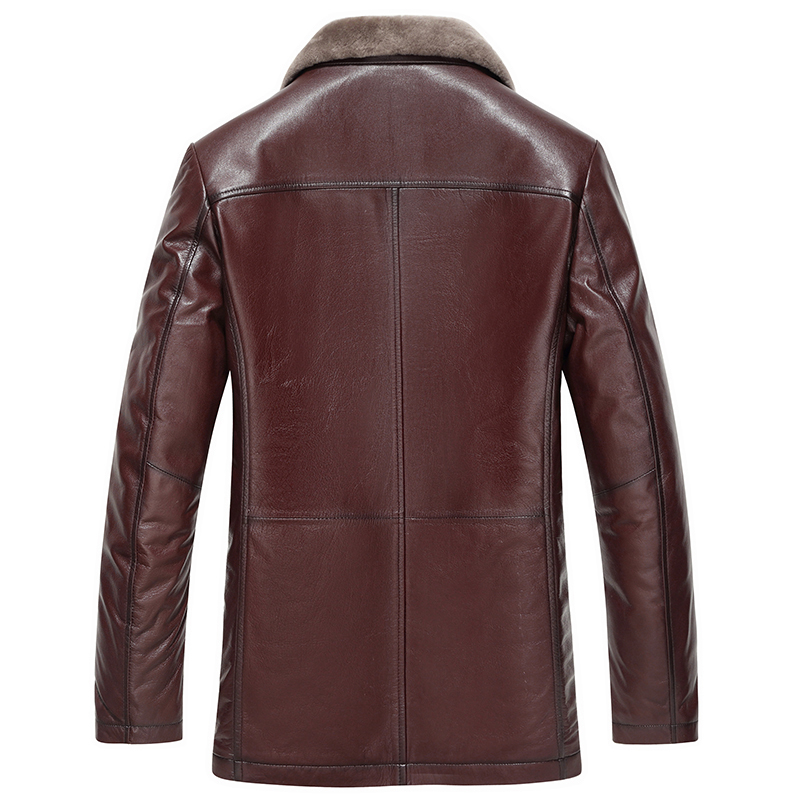 Genuine Leather Jacket Men Slim Winter Warm Sheepskin Coat Wool Coats Plus Size 5XL 6XL Jaqueta De Couro 16688 ZL383