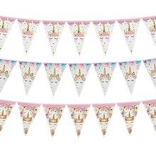 Banderines de papel de unicornio arcoíris decoraciones para fiesta de cumpleaños niños unicornio fiesta colgando banderas de guirnalda suministros de baño para bebé