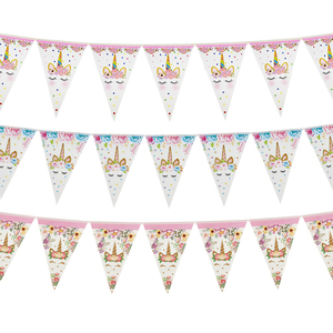 Image 1 - Tęczowa opaska jednorożec banery papierowe jednorożec dekoracje na imprezę urodzinową dla dzieci impreza jednorożec wiszące Garland flagi przybory dla niemowląt