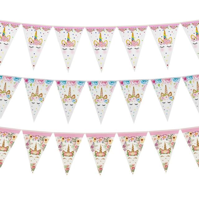 Tęczowa opaska jednorożec banery papierowe jednorożec dekoracje na imprezę urodzinową dla dzieci impreza jednorożec wiszące Garland flagi przybory dla niemowląt