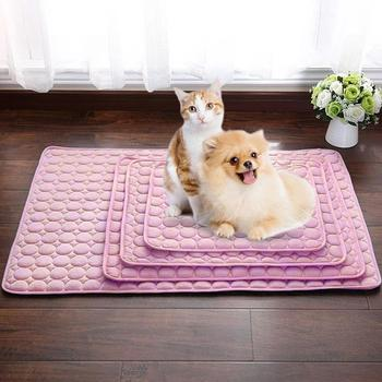 Breathable Summer Cooling Mats Pink Blanket Pet Dog Cat Self Cooling Mat Pad Summer Car Seat Ice Silk Mat Pet Cool Blanket image