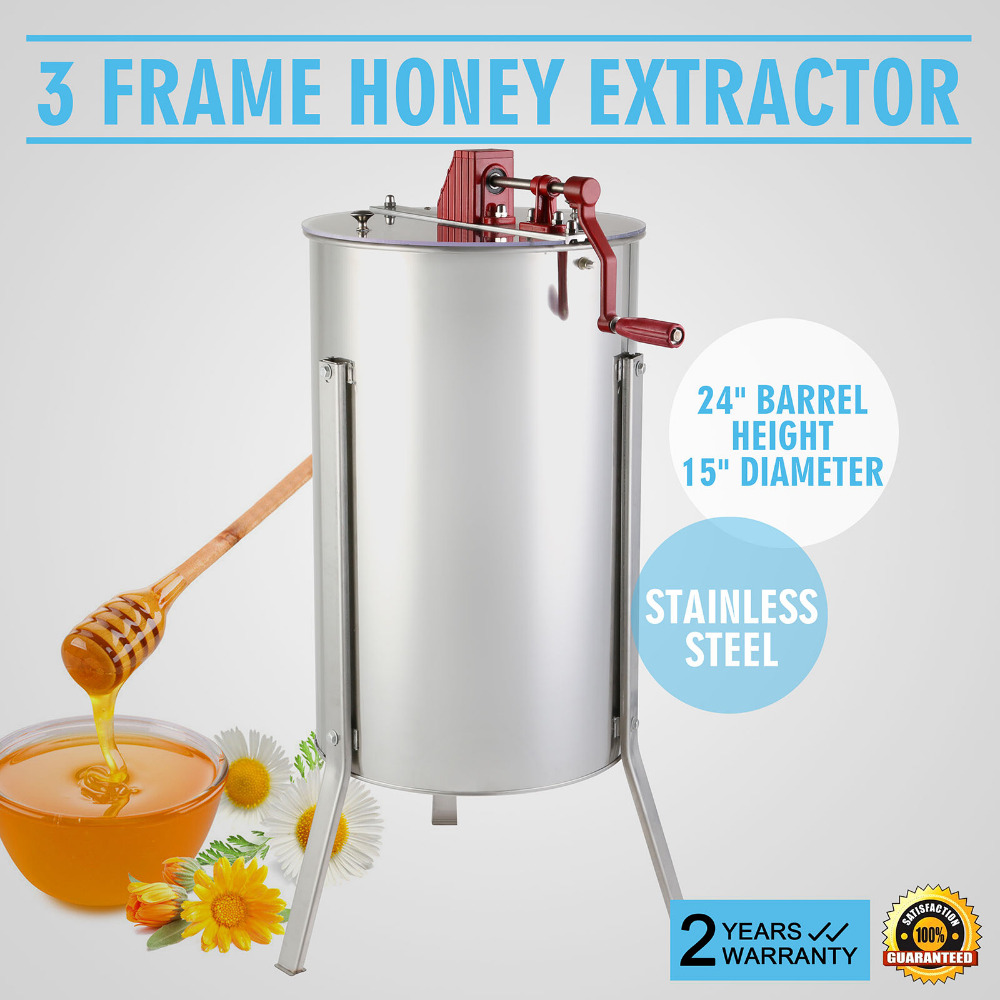 3 Frame Honey Extractor Stainless Steel Manual Honey Extractor Commercial Use