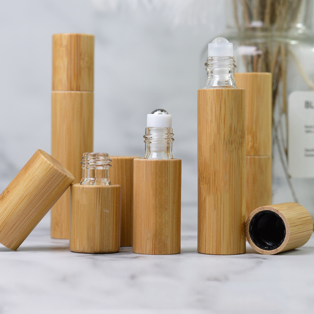 Hot Sale New Bamboo Wood Bottle Perfume Empty Oil Bottle Stainless Roll On Ball Perfume Aromatherapy Bottle Oil Roller Bottle