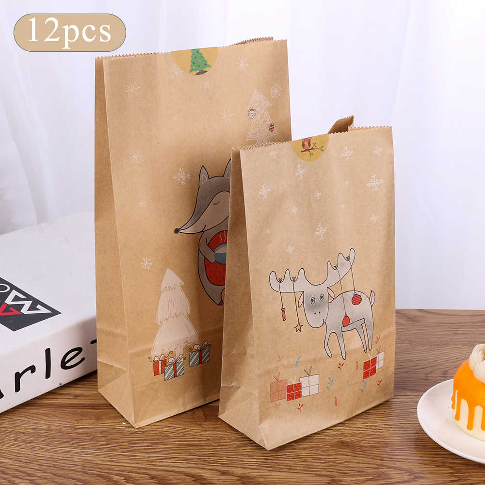 6/12PCS Christmas Kraft Paper Bag Xmas Stickers Set Fox Moose Gift Paper Bag Stickers Xmas Candy Food Cookies Packing Paper Bags