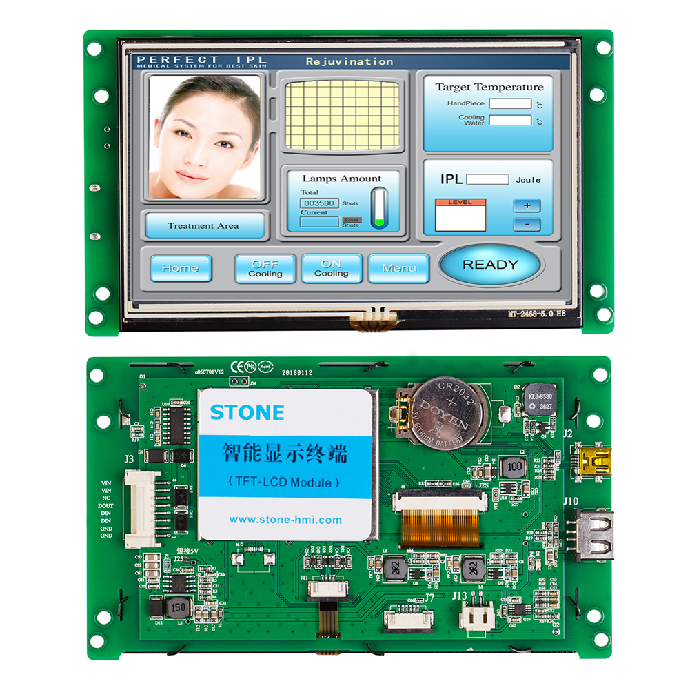 "Industrial HMI Display 5.0"" Resistive Touch Screen Panel with 3 Year Warranty"