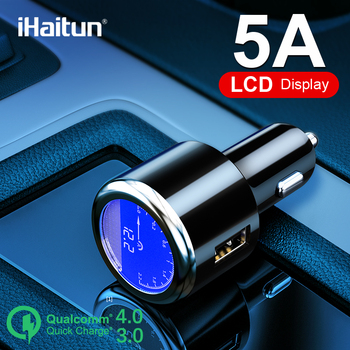 iHaitun Luxury LCD 4.8A USB Car Charger For Samsung S9 S10 Quick USB 3.0 3.1 Fast Charge For iPhone Xiaomi Redmi K20 Oneplus 7 X