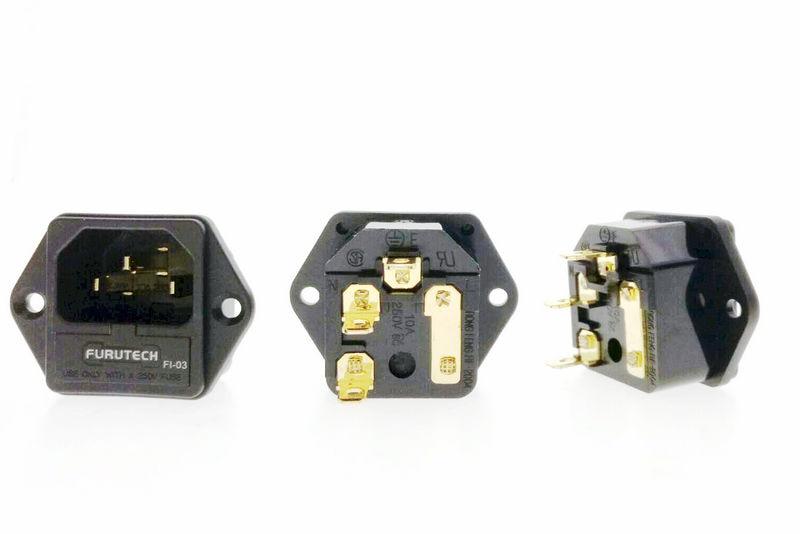 DIY HIFI FURUTECH FI 03  FI 03 Fused IEC Socket/Connector Gold (G) Plated|Plug & Connectors| |  - title=