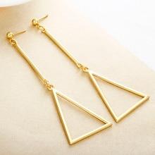 E0493 New 2018 Fashion Earrings Simple Style Gold Color Geometric Triangle Long Stud Earrings For Women Trendy Jewelry Female недорого