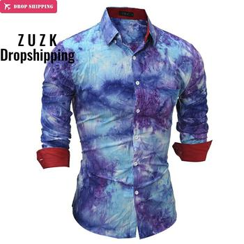 цена на DropshippingBrand  Fashion Male Shirt Long-Sleeves Tops High Quality 3D Tie Dye Mens Dress Shirts Slim Men Shirt
