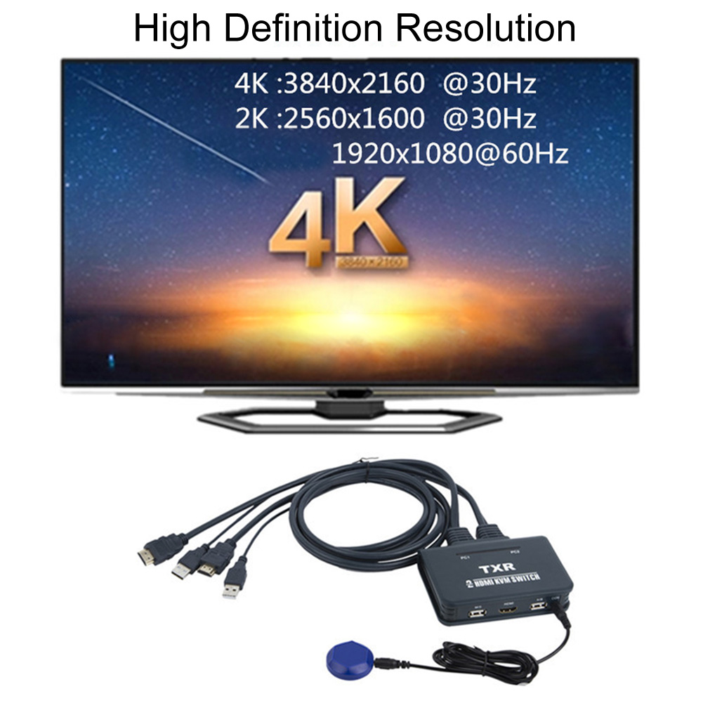 2 Port USB Splitter Box Desktop Controller Button KVM Switch HDMI Computer With Cables Dual Monitor Keyboard Mouse TV Projector