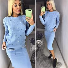 Women Two Piece Warm Set O Neck Pearl Beading Knitted Pullover  Pencil Skirt Women Elegant 2 Piece Suits