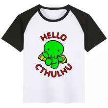 Cthulhu Print Kids T Shirt Funny Kawaii Cartoon Girl Top Harajuku White Round Neck Short Sleeves Boys Tshirt New Arrival trendy short sleeves skulls print round neck t shirt for men