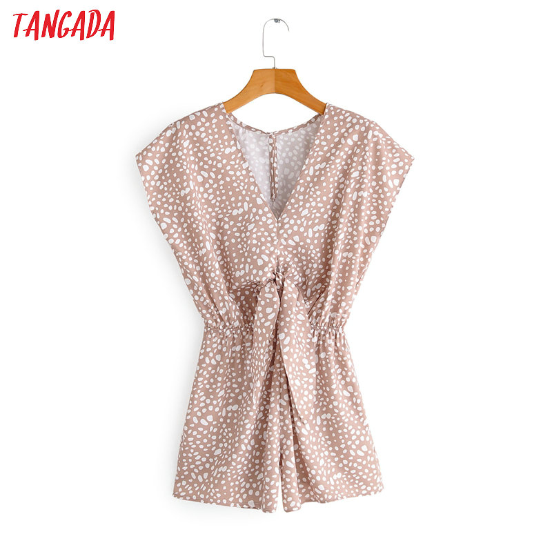 Tangada Fashion Women Dots Print Summer Playsuit V Neck Bow Tie Buttons Female Sexy Beach Playsuit 1F153