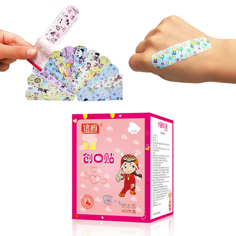 100Pcs/set Waterproof Breathable Cute Cartoon Aid Hemostasis  Band-aid First Aid Emergency Kit For Kids