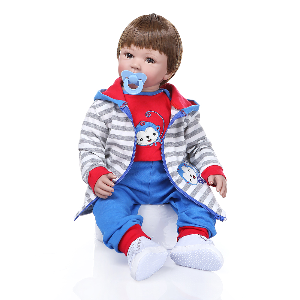 60 CM silicone reborn toddler baby boy doll with monkey clothes vinyl toddler babies alive doll toy lifelike Christmas Gift