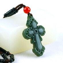 Прямая поставка подвескаиз натурального камня нефрита Qingyu Ожерелье Подвеска для мужчин и женщин подвеска в виде креста с веревкой цепи женские мужские ювелирные изделия