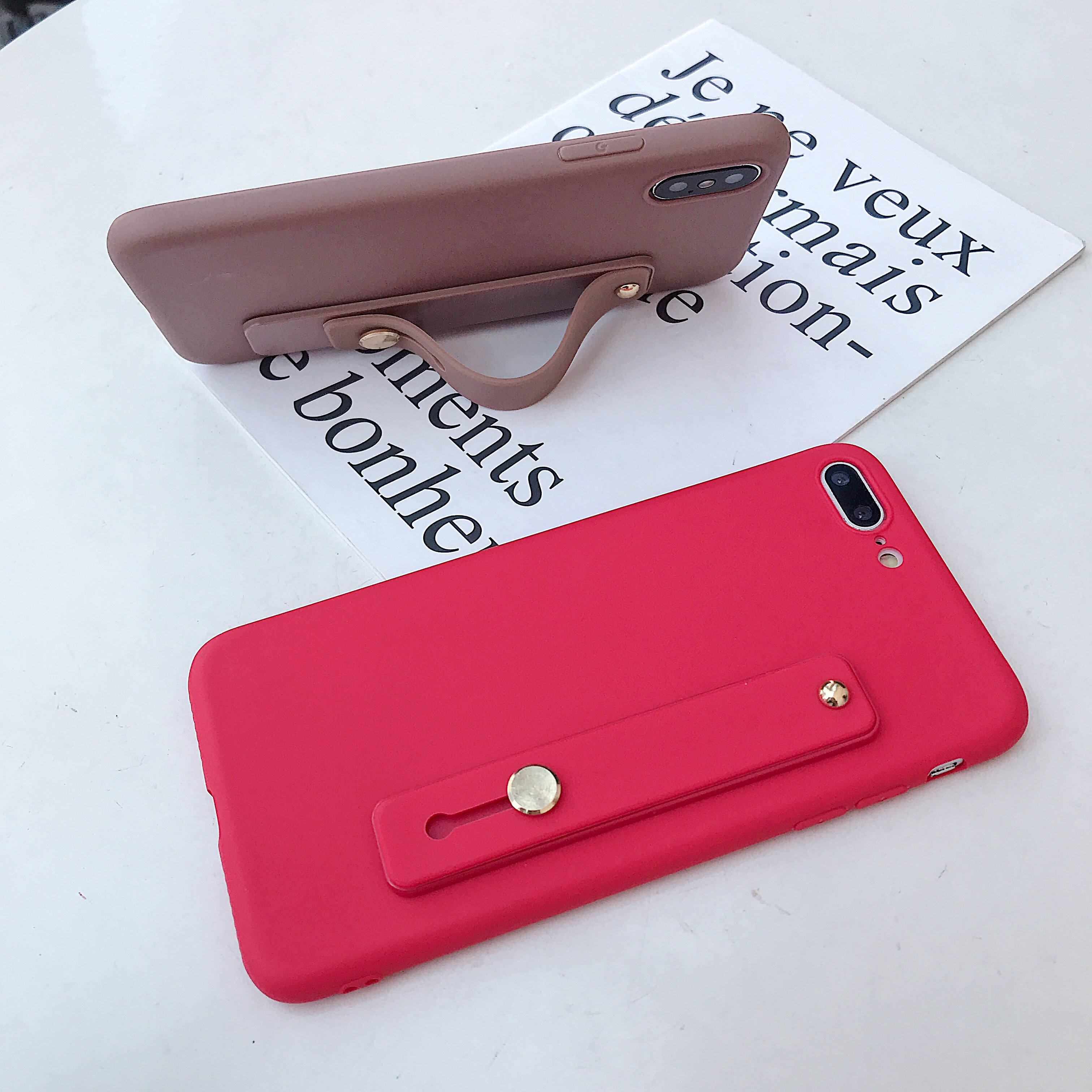 Candy Color Wrist Strap Bracket Soft Phone Case For Samsung Galaxy S10 S20 S7 S8 S9 Edge E Lite Plus + Note 8 9 5 10 Pro Ultra