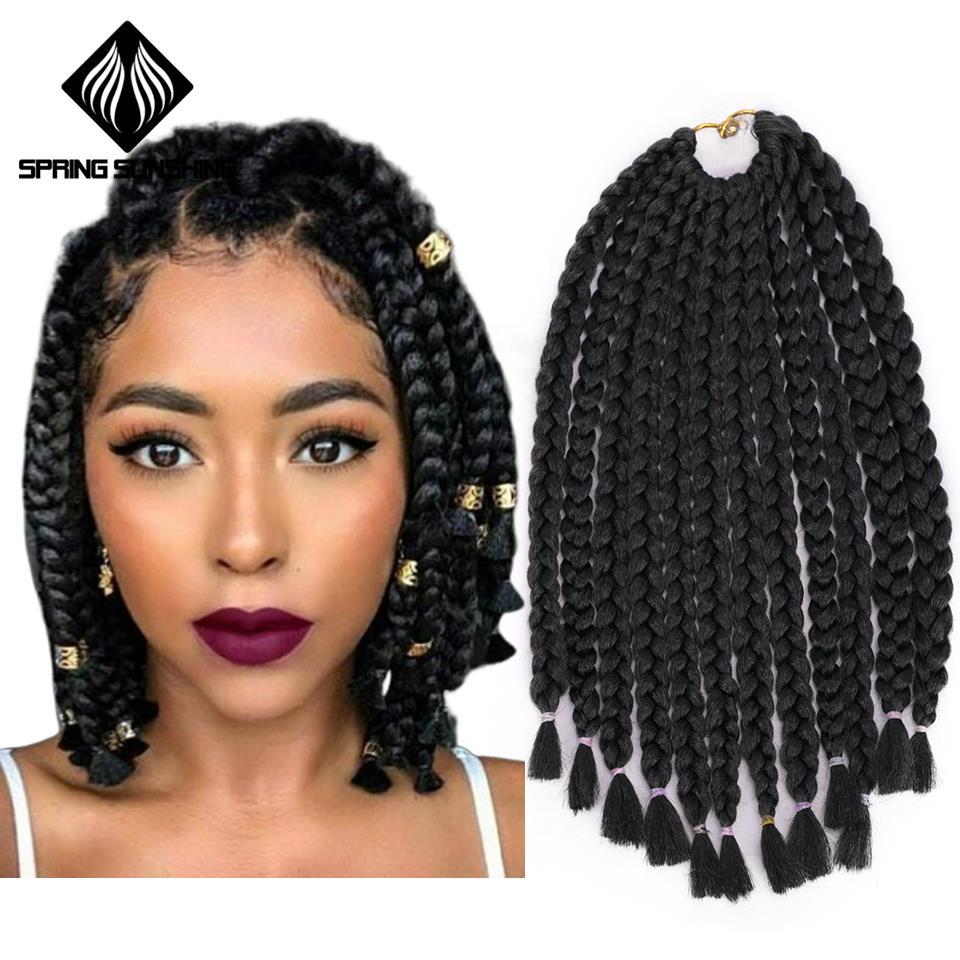 Spring Sunshine Crochet Braids 14inch Box Braid 12 Roots/pack Synthetic Braiding Hair Extension Bulk Braid Black Bug Brown
