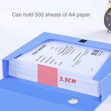 A4 PP Clip File Folder Portable Document File Box Storage Bag Lightweight Business Organizer File Box School Office Supply