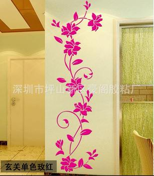 NEW 1PC Wall Stickers Decal Home Decor DIY Vase Flower Crystal Arcylic 3D Stickers For Kids Room 24X80cm Drop Shipping 11