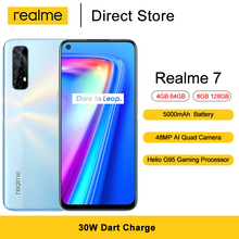Realme 7 Mobile Phones  Helio G95 Gaming Octa Core 6.5'' FHD+ Fullscreen 16MP Front Camera 5000mAh Android 10 Smartphones