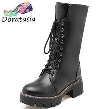 DORATASIA New Big Size 34-43 Winter Warm Fur mid-calf Boots Women 2019 Waterproof High Platform Shoes Woman 5 Cm Chunky Heels