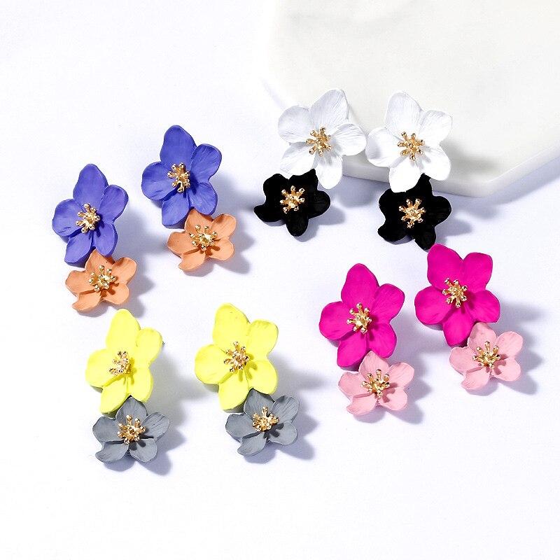 Korean Design Big Flower Shape Acrylic Earring Shiny Rhinestone 3 Colors Women Party Wedding Fashion Jewelry Earrings